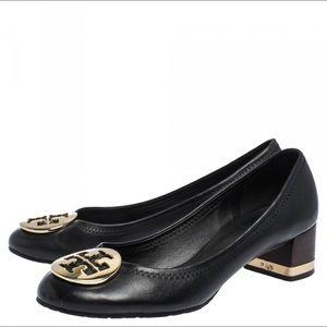 Authentic Tory Burch Gold Reva Logo Heels